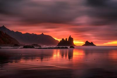 Течение времени Испания Бенихо закат океан выдержка скалы горы облака пляж берег