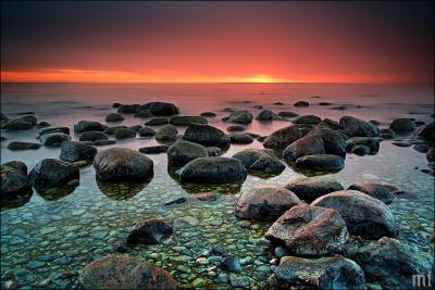 Морские камушки закат, море, камни