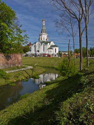 Храм Александра Невского Пейзаж город Калининград храм деревья отражение небо трава