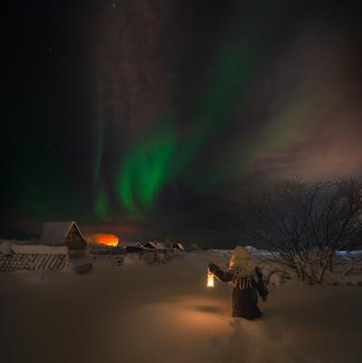 В поисках сияния... Зима Северное сияние Кольский полуостров Север Мурманская область
