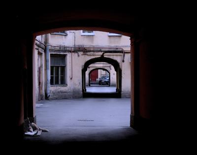 """***  - (серия """"Питерские дворы""""_6) Двор Питер сумерки старый город"""