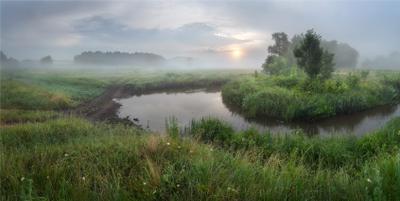 Утро перед дождем утро пейзаж панорама луг туман Солоницевка