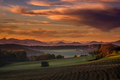 Утро утро рассвет Германия свет облака небо осень пейзаж природа