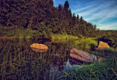 Летний вечер лето вечер река валуны