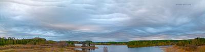 Хляби небесные - панорама / Cataracts of Heaven асператус undulatus asperatus aspreatus asperitas облака облако ладога ладожское озеро карелия небо тучи туча небесное явление ритам мельгунов пейзаж россия осень осенний autumnal ladoga lake cloud clouds