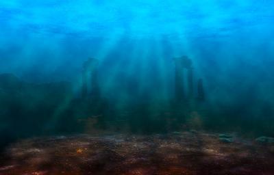 В поисках Атлантиды Атлантида океан вода свет дно руины колонны рыбы морская звезда ocean water light bottom column ruins fish starfish