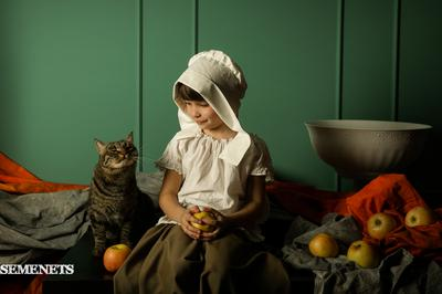 девочка с кошкой семенец портрет фото semenets