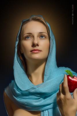 Магдалина портрет девушка яблоко платоу палантин