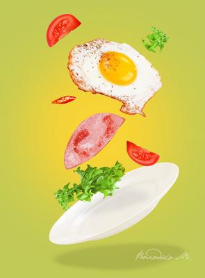 Легкий завтрак яичница колбаса помидор завтрак левитация