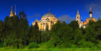 Град Китеж !!! акваимпрессионизм отражение река град Китеж Торжок Борисоглебский монастырь храм церковь