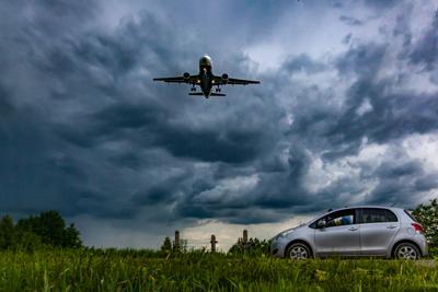 ***посадка перед грозой Небо природа пейзаж машина самолёт гроза
