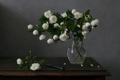 *** Цветы шиповника ваза столик