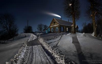 Сельский пейзаж с кометой - эпизод второй Беларусь звезды зима луна мороз ночь снег замок Гольшаны вечера-на-хуторе Озерцо Логойск Дудутки