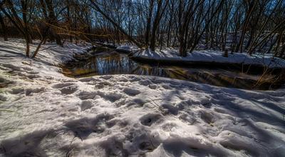 Речка. парк весна речка снег солнце