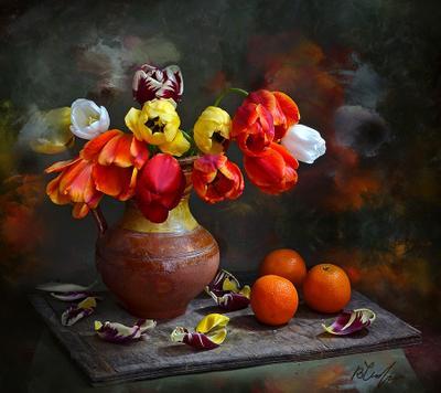 Букет тюльпанов. chaparin.v.p апельсины иваново крынка натюрморт тюльпаны цветы