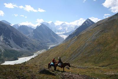 Мы вышли из Алтая :-) Белуха Аккем Алтай горы лошади