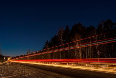 скорость ночь зима дорога небо линии