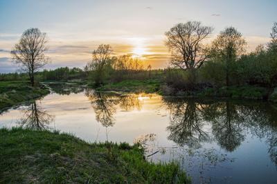 *** природа пейзаж весна.вечер закат протока река казанка отражения татарстан
