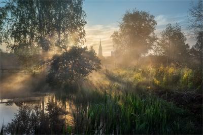 Утро в деревне утро пейзаж деревня Солоницевка село поселок околица огород церковь май