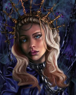 Keeper of Hell. crown fantasy knight lady metallic queen steel person chain female portrait young girl iron mediaeval art beauty face hair goddess gold eyes glamour dark gorgeous red lips illustration costume sorceress magic mysterious cosplay dress horror
