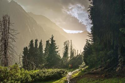 Солнечный дождь Терскей Алатау Киргизия дождь солнце