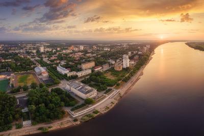 Рассвет над Камой пермский край город закамск кама пермь россия урал аэрофото дрон пейзаж рассвет река солнце утро