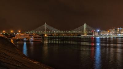 Большой Обуховский мост и речной порт СПб. петербург ночь порт мост обуховский нева