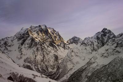 Горный пейзаж Горы закат зима природа