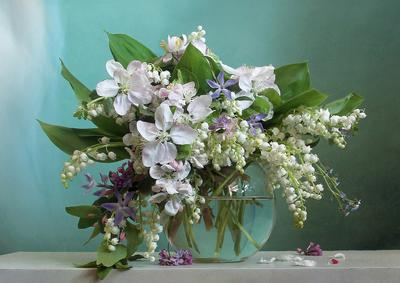 В лазурных бликах нежности Натюрморт ландыши весна букет цветов