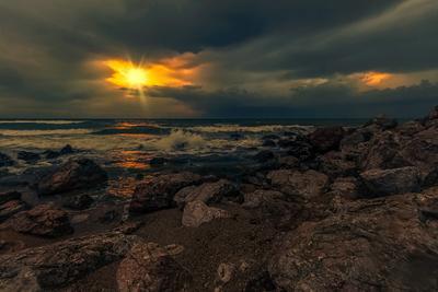 Вечерний прибой Прибой море пейзаж вечер закат