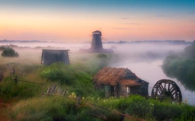 Там чудеса.... утро туман лето рассвет мельница
