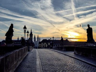 Силуэты Вюрцбурга Город рассвет мост силуэты архитектура
