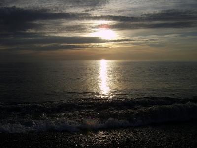 Ноябрьский закат море