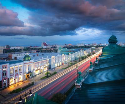 Открытка из Омска Омск город архитектура провинция Россия регион длинная выдержка небо закат рассвет облака крыша история