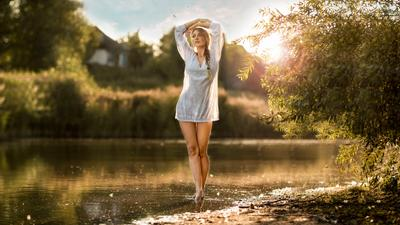 Lines Of The River girl river sunset plener lines alexandr chuprina девушка река закат пленэр линии александр чуприна