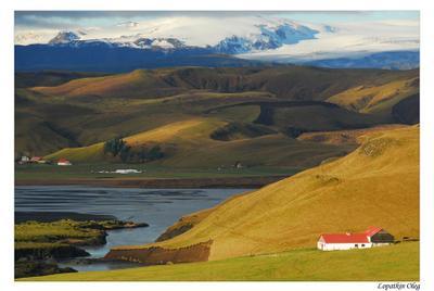 Исландия, пейзаж Исландия, поля, луга, горы, ледники
