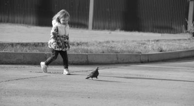 *** ребенок девочка прогулка улица голубь птица