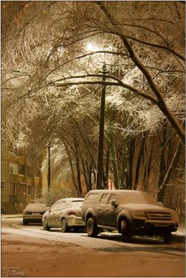 любимый город может спать... снег ночь авто город славный