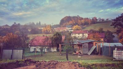 Деревня в Чехии Деревня село дома утро