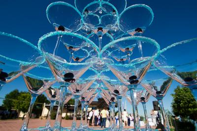 Пирамида шампанского бокал фужер пирамида шампанское свадьба торжество небо стекло