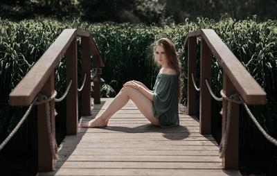 на мосту мост зелень трава девушка розарий