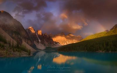 ... и радуга Moraine Lake Banff Alberta Canada Rainbow Emerald turquoise