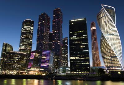 Москва Сити Город вечер огни сити небоскребы Москва