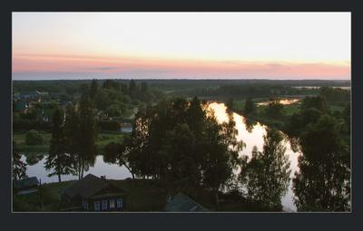 С высоты, но не свысока природа пейзаж лето река вечер закат туман