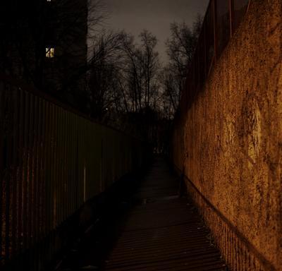Dark way fence wall dark night window trees shadow