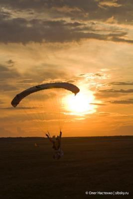 Вечерний свуп парашют, закат, солнце, swoop, полет, skydive