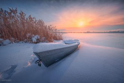 Про лодку Шатура Шатурские озера зима мороз лодка