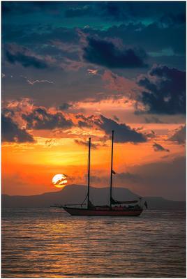 *** море вода яхта облака солнце рассвет берег небо