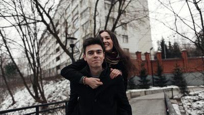 *** улыбка пара любовь зима парк деревья