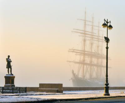 На набережной... парсник крузенштерн зима петербург санкт